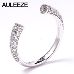 AULEEZE Round Cut Natural Diamond Open Ring 0.62cttw VS Real Diamond Stacking Ring Platinum PT950 Match Band Fine Jewelry