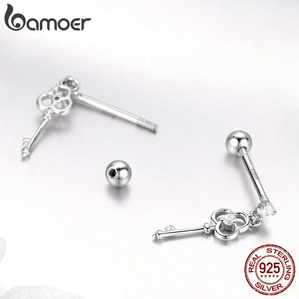 925 Sterling Silver Heart Key Small Stud Earrings for Women Wedding Engagement Silver Jewelry Gift SCE539