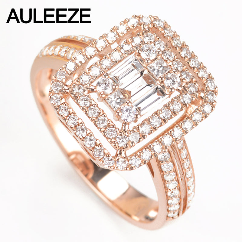 AULEEZE Double Halo Pave Real Diamond Ring Real 18K 750 Rose Gold 0.71cttw Natural Diamond Engagement Ring Fine Jewelry