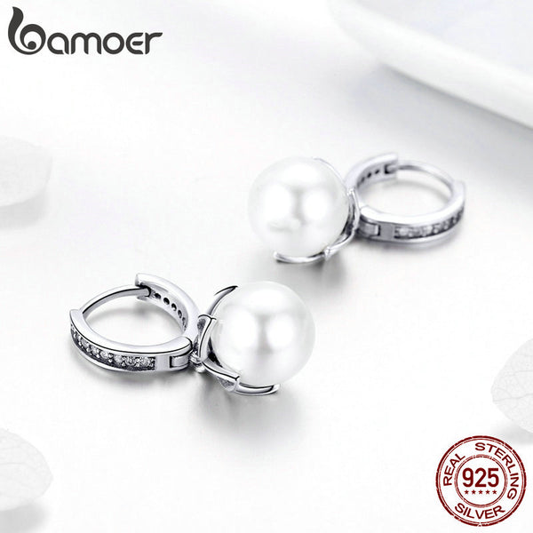 925 Sterling Silver Luminous Gentle Love Flower Freshwater Pearl Drop Earrings Female Women Pearl Jewelry SCE482