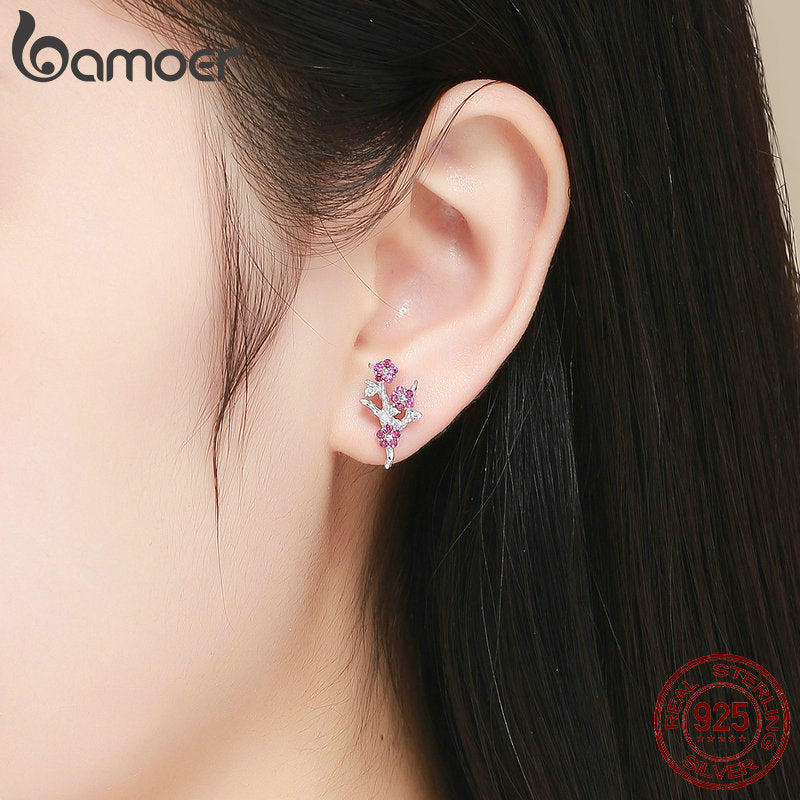 New Collection 925 Sterling Silver Wintersweet Blooming Plum Flower Stud Earrings Women Silver Jewelry Gift BSE040