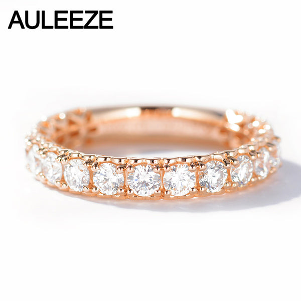 AULEEZE Heart Shape 1CTTW Moissanite Stacking Band 14k 585 Rose Gold Rings For Women Lab Grown Diamond Wedding Band Fine Jewelry