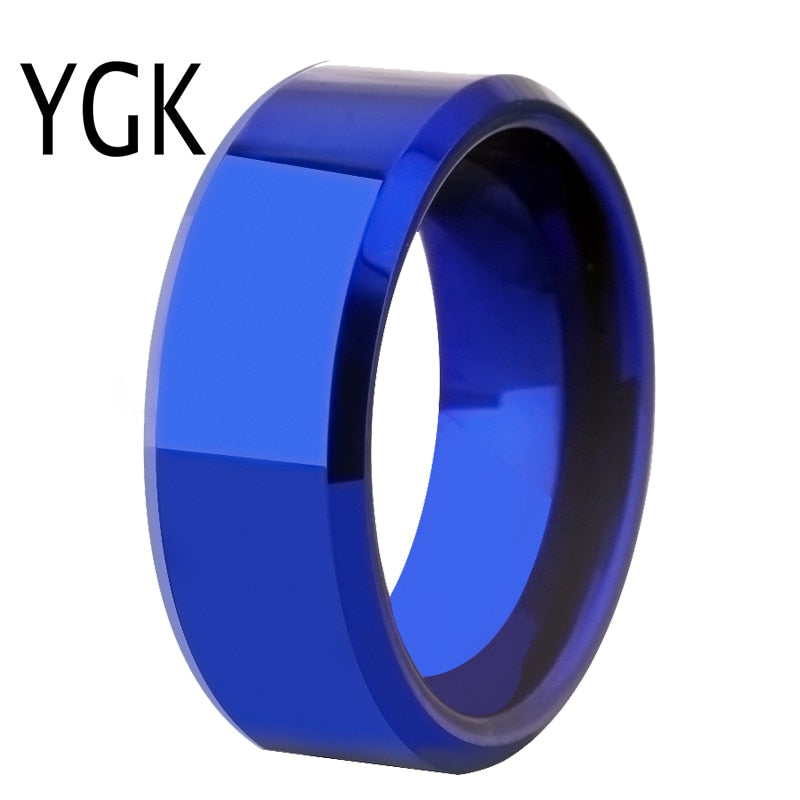 Drop Shipping Women's Wedding Band Ring Men Classic Blue Bevel Tungsten Ring Engagement Party Ring Gift Present for Women men