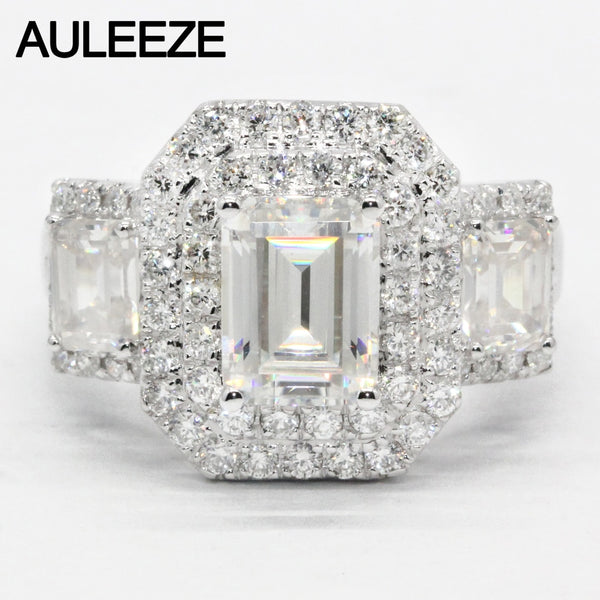 AULEEZE Luxury 2carat Moissanite Ring Solid 18K White Gold Engagement Ring Emerald Cut Lab Grown Diamond Wedding Ring For Women
