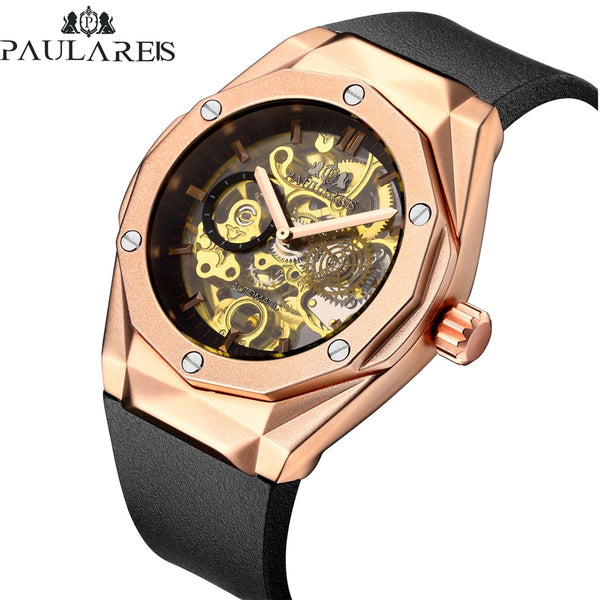 Men Automatic Skeleton Self Wind Mechanical Rose Gold Silver Black Case Rubber Strap Sports Watch