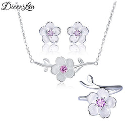 DIEERLAN Rhinestone Sets Jewelry for Women 925 Sterling Silver Zirconia Cheery Flower Necklaces Ring Statement Jewelry Brincos