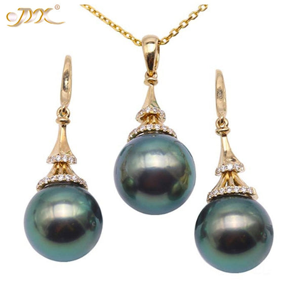 JYX Luxurious Peacock-green Tahitian Set 18K Gold 10-10.5mm Tahitian Cultured Pearl Pendant necklaces pendants gold jewelry