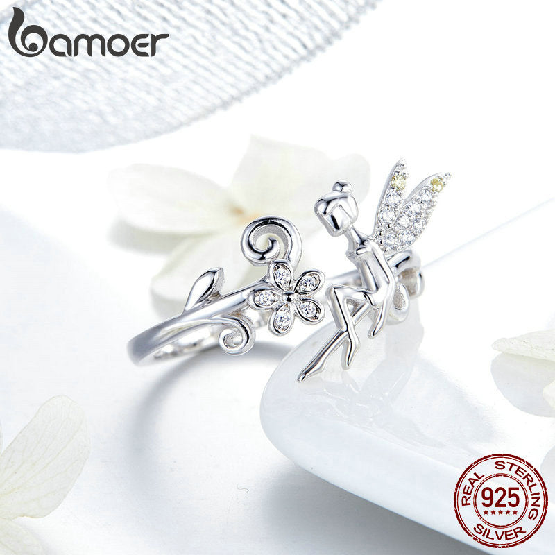 925 Sterling Silver Fairy & Daisy Flower Open Size Finger Rings Women Wedding Engagement Jewelry BSR025