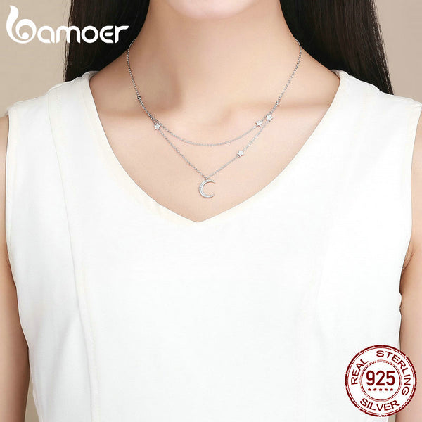 Genuine 925 Sterling Silver Moon & Star Double Layers Chain Pendants Necklaces for Women Sterling Silver Jewelry BSN038