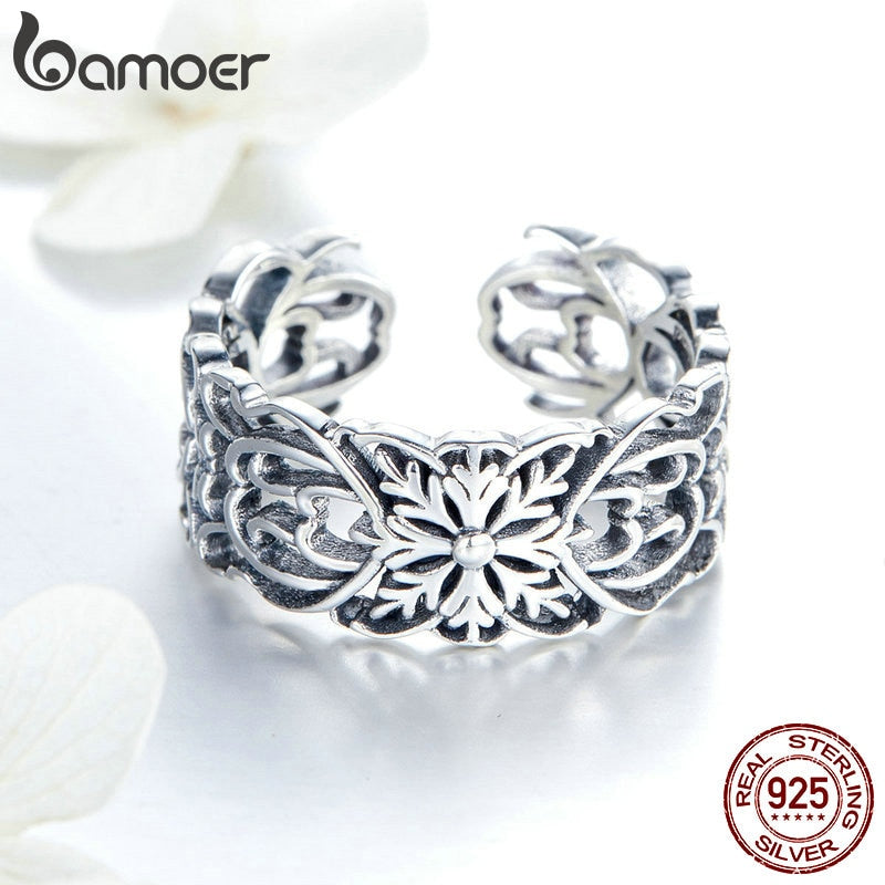 925 Sterling Silver Vintage Stackable Flower Open Size Finger Rings for Women Fashion Silver Jewelry SCR500