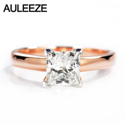 AULEEZE Classic 1ct Princess Cut Moissanite Diamond Solitaire Wedding Ring For Women 14k Rose White Gold Custom Jewelry Gift