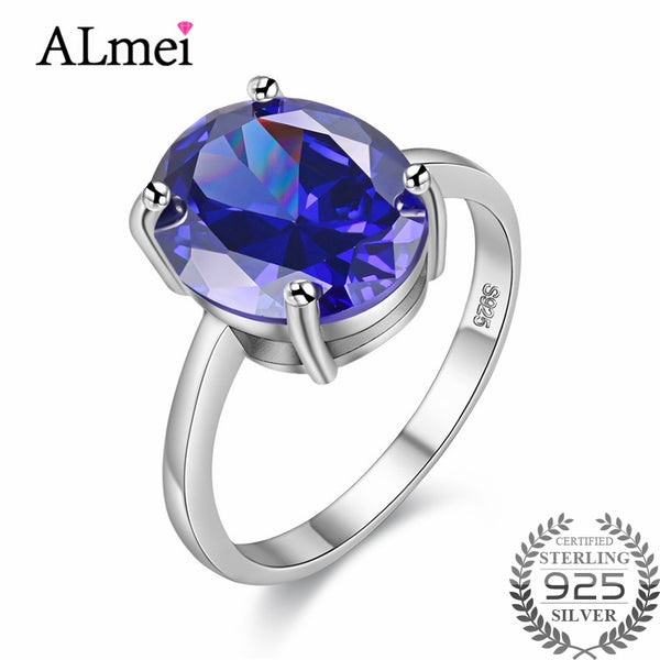 Almei Big Oval Ocean Blue Topaz Ring S925 Sterling Silver Fine Jewelry Wedding Rings Zircon for Women with Free Box 40% FJ040