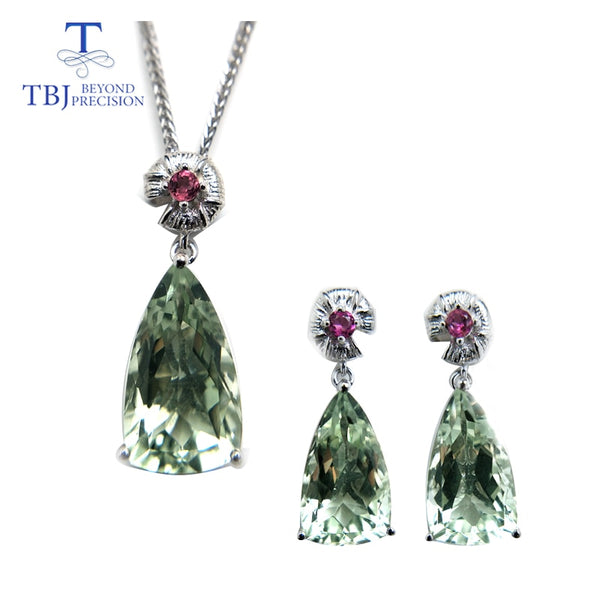 TBJ,Jewelry set pendant and earring with shinning green amethyst and tourmaline in 925 silver for wedding anniversary party