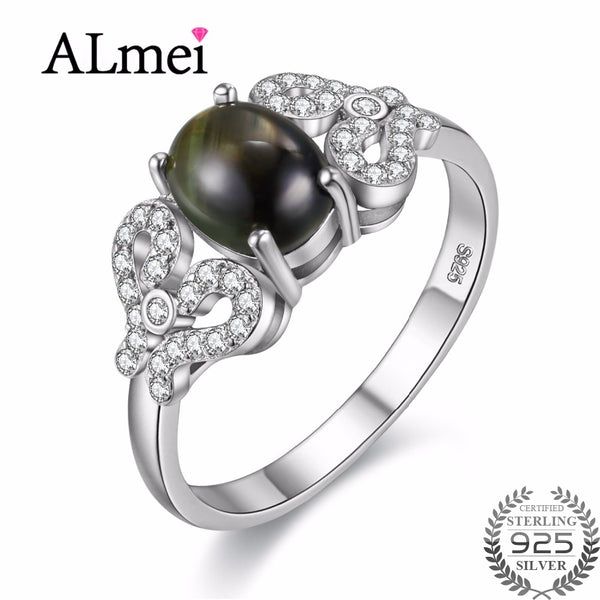 Almei Gray Star Sapphire Ring 925 Sterling Silver Jewelry Vitange Wedding Engagement Ring for Women with Gifts Box 40% FJ082