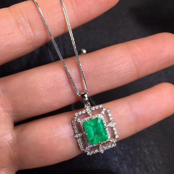 Fine Jewelry AIGS Certificate Real 18K White Gold AU750 Natural Green Emerald 1.79ct Gemstones Pendants for Women Fine Necklace
