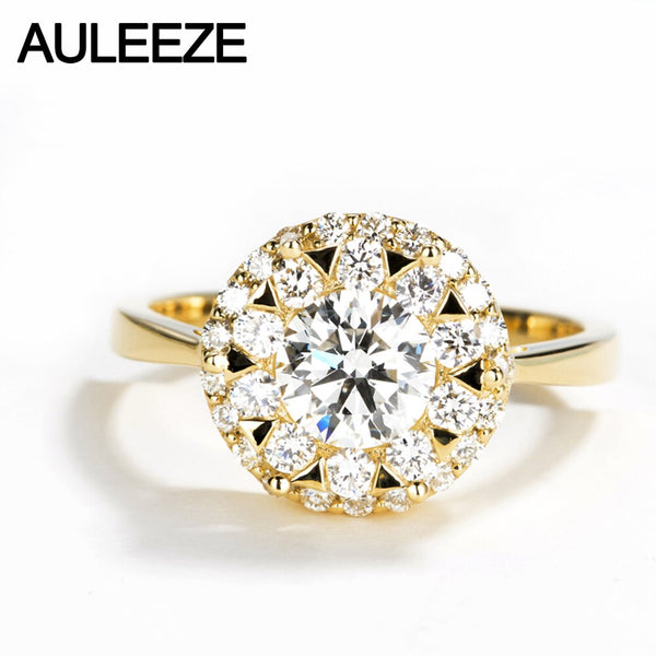 AULEEZE Luxury Halo Moissanite Diamond 0.7CT Round Cut 14k 585 Yellow Gold Wedding Engagement Rings For Female Custom Jewelry