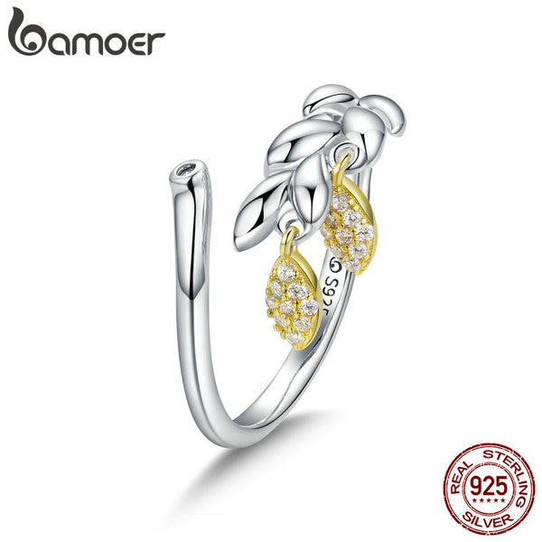 925 Sterling Silver Hope Wheat Open Size Finger Rings for Women Wedding Engagement Jewelry BSR019