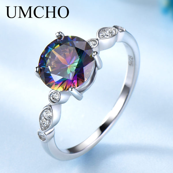 Genuine Rainbow Fire Mystic Topaz Rings for Women Genuine 925 Sterling Silver Trendy for Women Romantic Gift Fine Jewelry