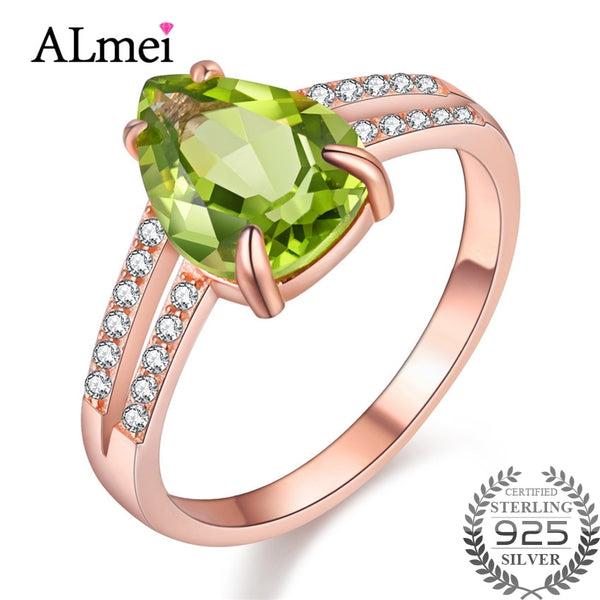Almei 2 Rows 1.5ct Green Peridot Love Heart Shine Teardrop Women Ring Rose Gold Color Silver 925 Engagement with Box 40% FJ109