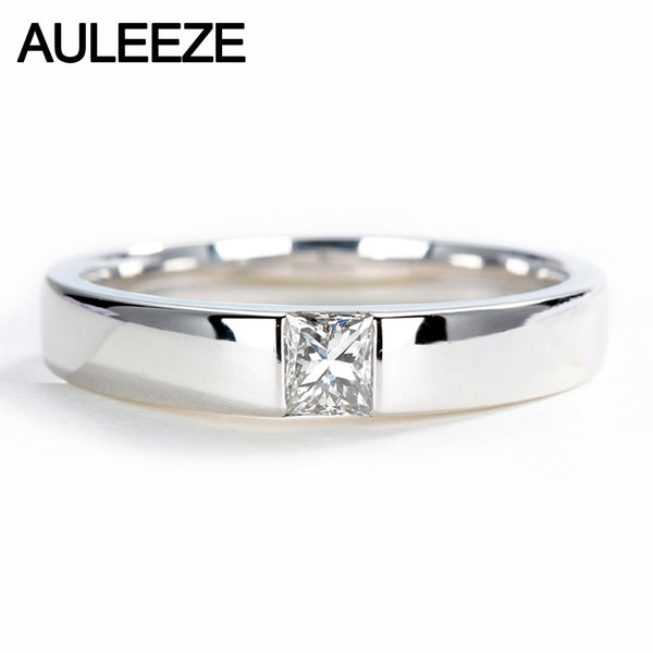 AULEEZE Classic Men Wedding Band 0.25CT Princess Cut Real Diamond Engagement Rings 18K White Gold