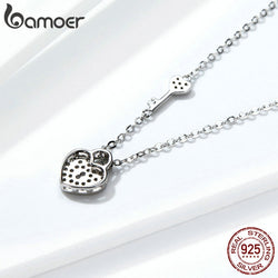 925 Sterling Silver Clear CZ Heart Lock and Key Link Chain Choker Necklace for Women Luxury Statement Jewelry SCN315