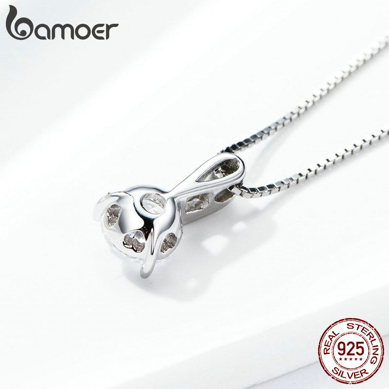 925 Sterling Silver Clear CZ Radiant Dazzling Minimalist Pendant Necklace for Women Box Chain Necklace SCN314