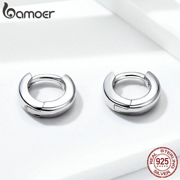 925 Sterling Silver Polishing Tiny Circle Hoop Earrings for Women and Men Korean Style Fine Jewelry SCE552