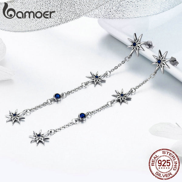 925 Sterling Silver Shining Star Clear Zircon Long Chain Drop Earrings for Women Wedding Earrings Jewelry BSE060