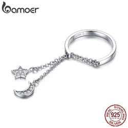 925 Sterling Silver Moon and Star Link Chain Adjustable Finger Rings for Women S925 2019 New Design SCR407