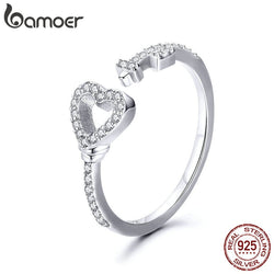 925 Sterling Silver Love Heart & Zircon Key Rings for Women Wedding Engagement Jewelry SCR502