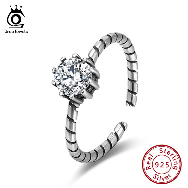 ORSA JEWELS Women Rings 925 Sterling Silver Adjustable AAA Black & White CZ Female Ring Fashion For Gifts Party Jewelry SR119
