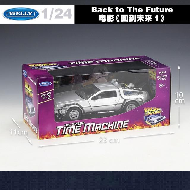 WELLY 1:24 Alloy Classic Diecast Car delorean Back to The Future part 1/2/3 DMC-12 Metal Model Toy Car For Kids Gifts Collection