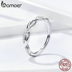 Cubic Zirconia Sterling Silver 925 Infinity Finger Rings for Women Fine Jewelry with Austrian Crystals 2020 New SCR511