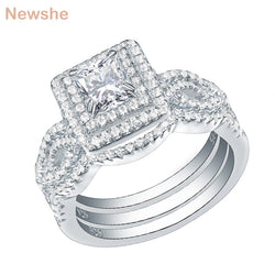 Newshe 3Pcs Wedding Rings For Women Trendy Jewelry 2.4 Ct Princess Cut White CZ 925 Sterling Silver Engagement Ring Set JR5256