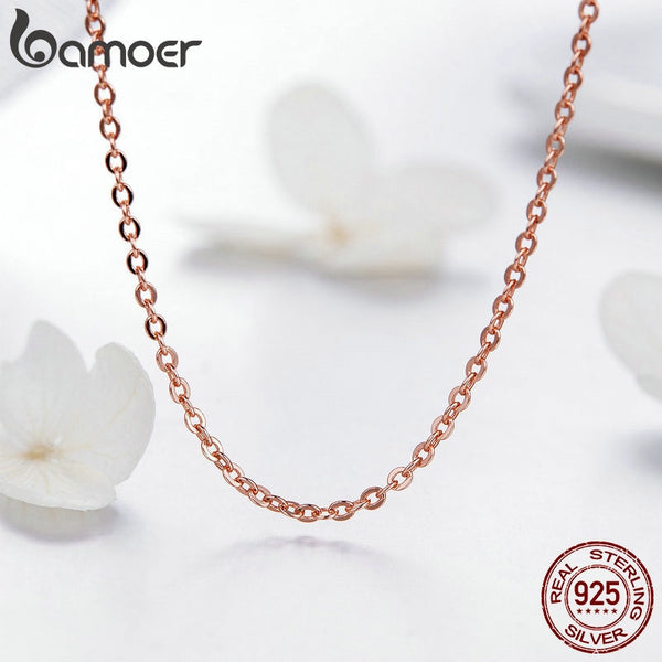925 Sterling Silver Basic Rose Gold Color Color Necklace for Women Necklaces Only Fit Pendant Female Fine Jewelry SCA014