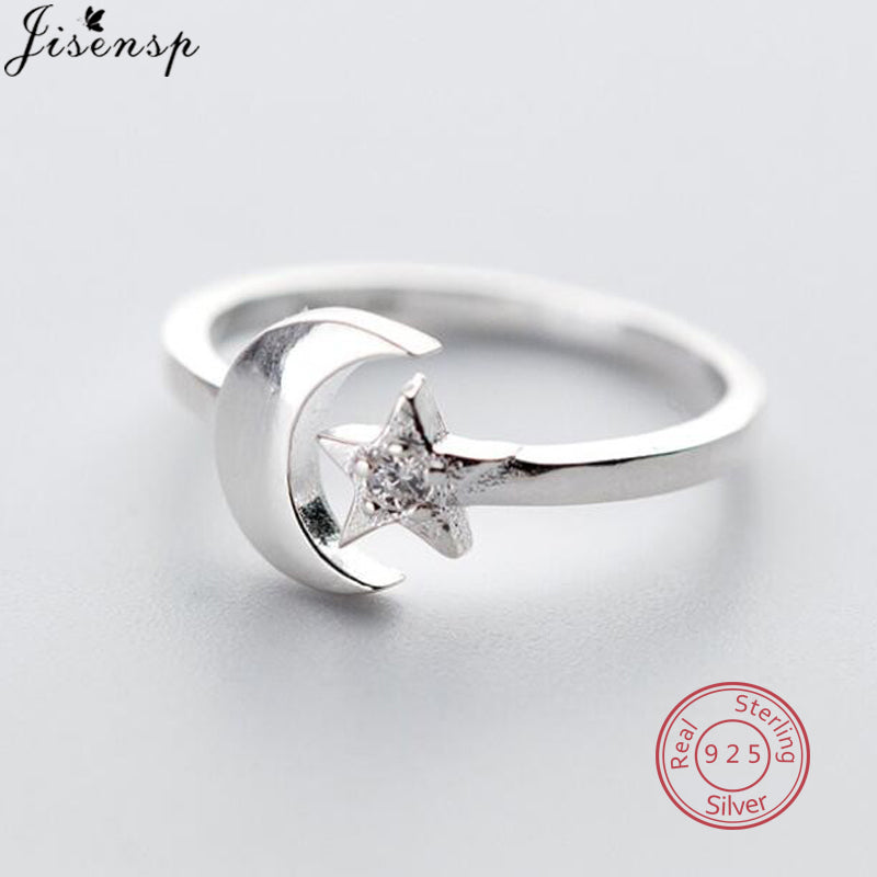 Jisensp 100% 925 Sterling Silver Star Moon CZ Finger Rings for Women Wedding Engagement Ring Jewelry plata de ley 925