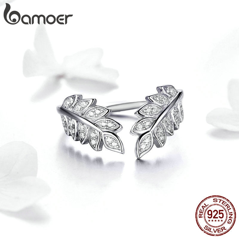Fashion Jewelry Leaf Open Finger Rings for Women 925 Sterling Silver Statement Enagement Jewellery Accessories SCR505