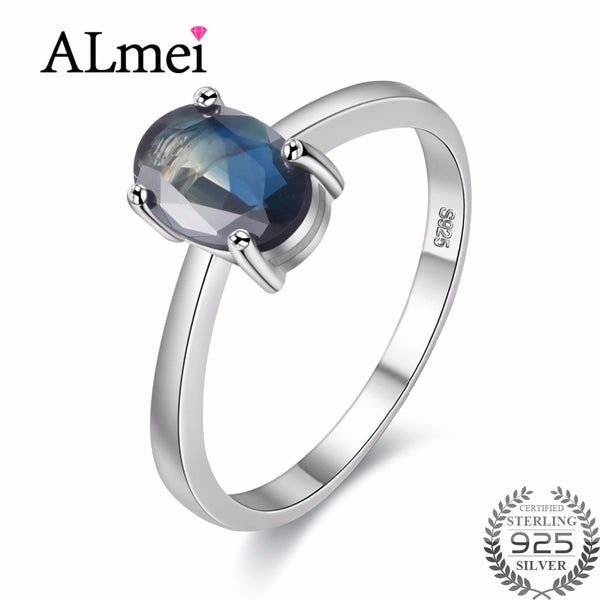 Almei Oval Cut Simple Created Blue Sapphire Engagement Real 925 Sterling Silver Ring Unique Design for Women Free Box 40% FJ098