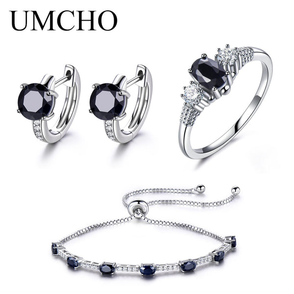 UMCHO Solid 925 Sterling Silver Jewelry Set Natural Black Sapphire Ring Pendant Stud Earrings For Women Brand Fine Jewelry New