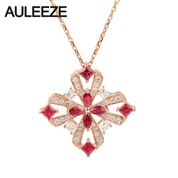 AULEEZE Vintage 0.90cttw Natural Ruby Pendant Real Diamond 18K Rose Gold Gemstone Necklace Fine Jewelry Anniversary Gift