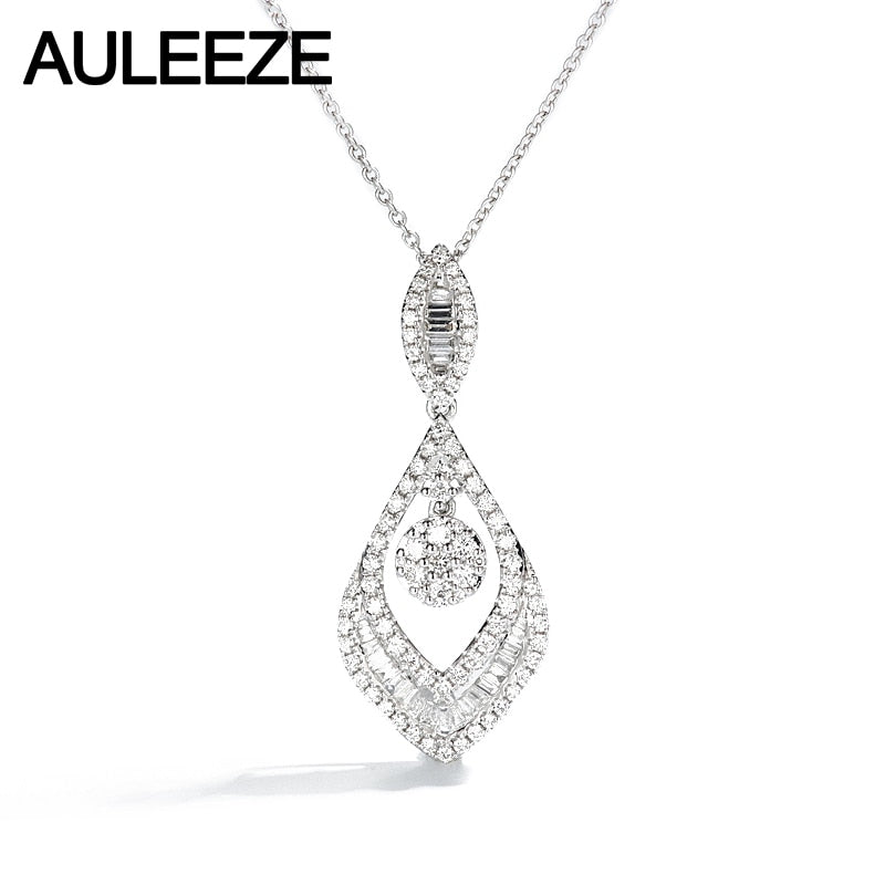 AULEEZE Luxury 0.89cttw Real Diamond Pendant 18K White Gold Emerald Cut Natural Diamond Necklace For Women Wedding Fine Jewelry