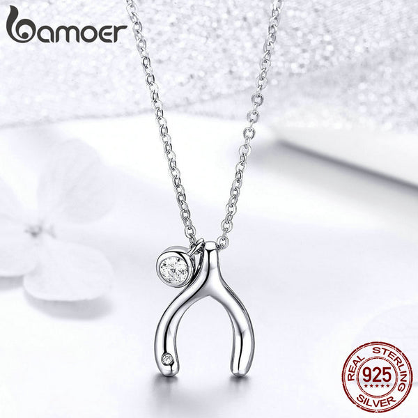 Wishbone Pendants Necklace 925 Sterling Silver Lucky Guardian Statement Necklace Korean Jewelry BSN046
