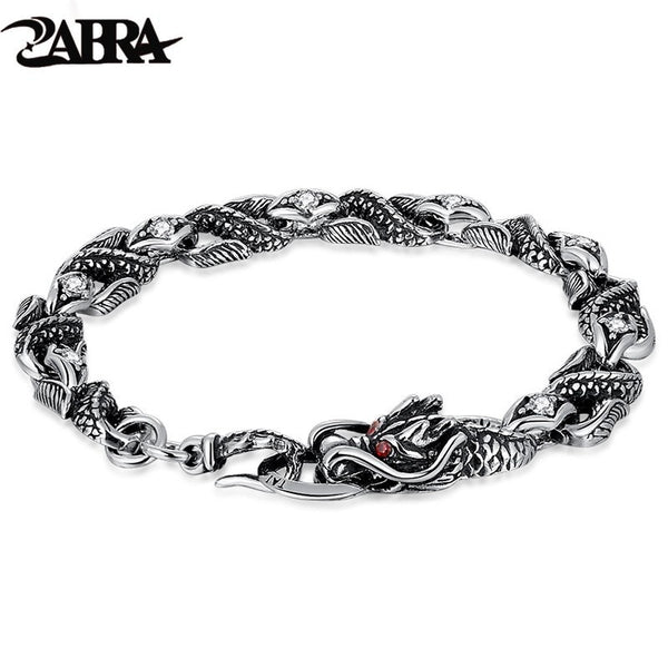 ZABRA Mens Silver Dragon Bracelet For Man Stones Zircon White Red 100% 925 Sterling Silver Vintage Biker Bracelets Men Jewelry