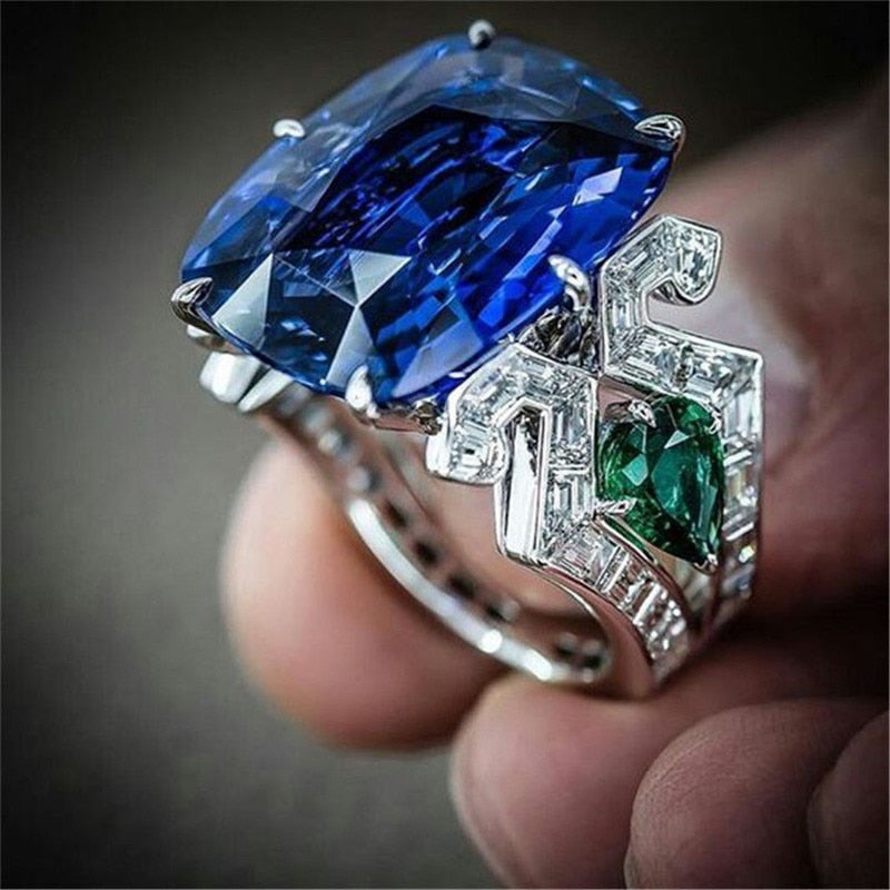 choucong Vintage Court Ring 925 Sterling Silver Blue AAAAA cz Engagement Band Rings For Women Party Jewelry Gift