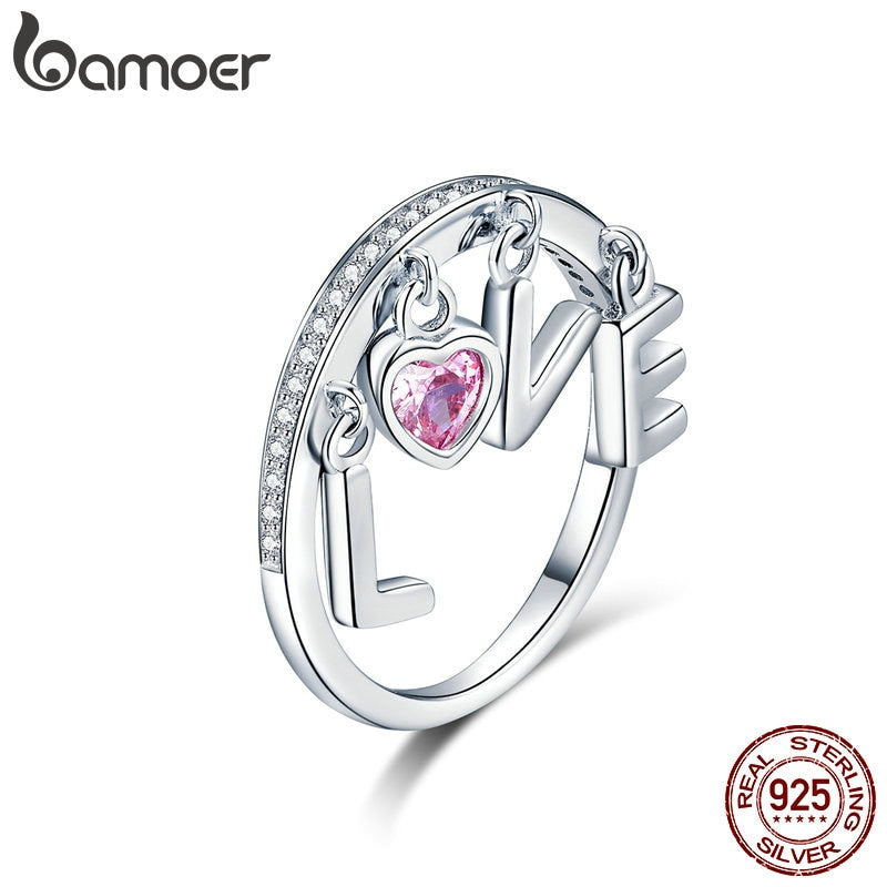 925 Sterling Silver Ring Women for Women Cubic Zirconia Pink Heart Love Letter Finger Rings Silver Jewelry SCR503