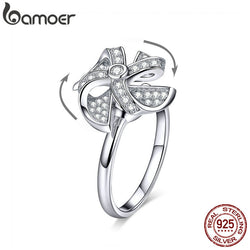 Rotating Windmill Ring Real Silver Moved Open Adjustable Finger Rings for Women Sterling Silver 925 Jewelry BSR032