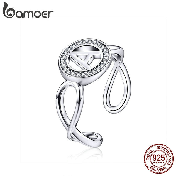 Letter Ring Alphabet A Infinity Geometric Wide Finger Ring Big Size Rings for Women Sterling Silver 925 Jewelry SCR506