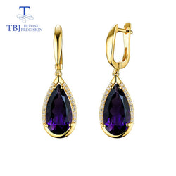 TBJ,Natural Africa amethyst gemstone pear 8*16mm clasp Earring 925 Sterling Silver Fine Jewelry For party  best valentine box