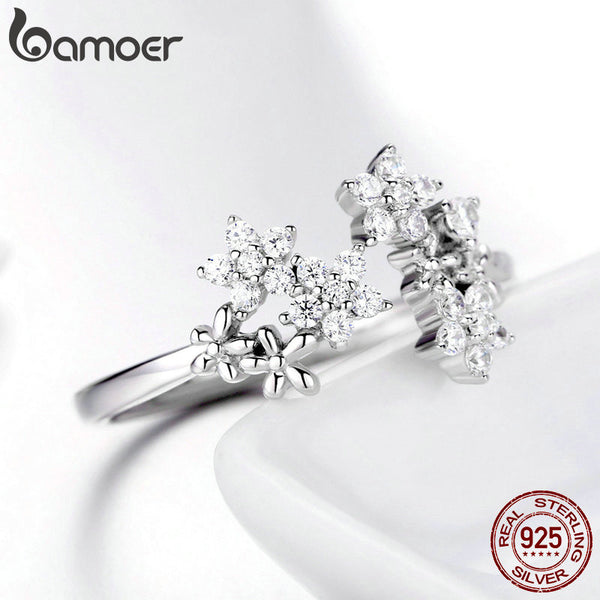 925 Sterling Silver Daisy Clear CZ Adjustable Finger Rings for Women Wedding Engagement Jewelry BSR021
