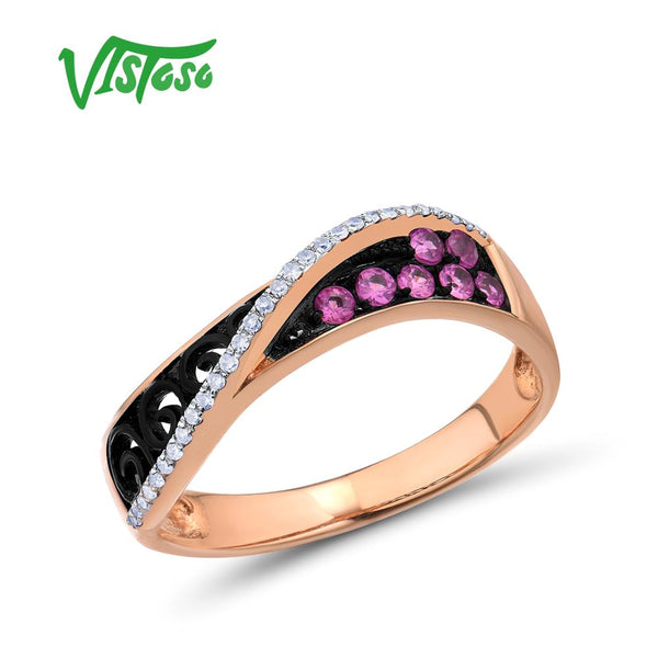 VISTOSO Gold Rings For Women Genuine 14K 585 Rose Gold Ring Sparkling Diamond Pink Sapphire Hollow Rhyme lineTrendy Fine Jewelry